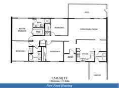 NAF El Centro – New Fund Housing Officers: 4 bedroom floor plan.