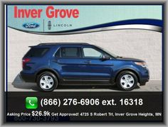 2012 Ford Explorer Base SUV In-Dash Single Cd Player, Steel Spare Wheel Rim, Tachometer, 3Rd Row Leg Room: 33.2, Front Shoulder Room: 61.3, Stability Control With Anti-Roll Control, Gray Grille, Front Leg Room: 40.6, Radio Data System, Digital Audio Input, Cloth Seat Upholstery