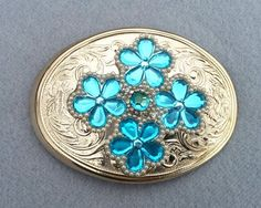 Women's belt buckle, Turquoise flowers, Austrian crystal, pearls, Free shipping