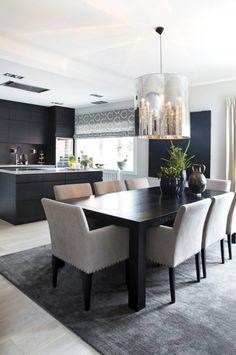 Open Plan Kitchen Living Room, Home Decor Kitchen, Elegant Dining Room, Dining Room Design, Dining Room Inspiration, Interior Inspiration, Estilo Interior, Interior Decorating, Interior Design