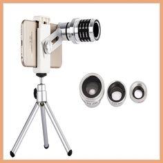 12X Telephoto Lens Lenses 4 In 1 Phone Fish Eye Lens Universal Wide Camera Lens ojo de pez For iPhone Lens olho de peixe Tripod