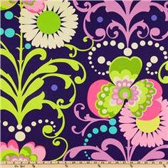 """Love Twill Paradise Garden Midnight home dec fabric by Amy Butler. 100% cotton, 54"""" wide. (Westminster Fabrics) #fabric"""
