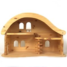 Wooden Dolls and Dollhouses Use the link to awesome toys for DIY inspiration.....shop is expensive  LINK IS TO PURCHASE a house, I pinned for visual reference to make my own