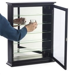36 Shot Glass Display Case For Tabletop Or Wall, Crown Molding, Hinged Door    Black