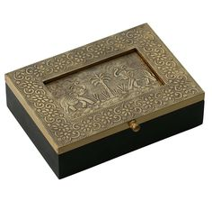 """Palms & Elephants - Handmade 7.5"""" Wooden Jewelry Box With Embossed Metal Sheet On The Lid - Buy in Bulk Wholesale"""