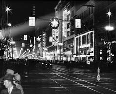 Downtown Los Angeles decorated for the holidays, circa 1940(viausclibraries)