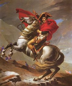 """Napoleon Crossing the Alps (he is shown on a white stallion, but in reality it was a mule)"""