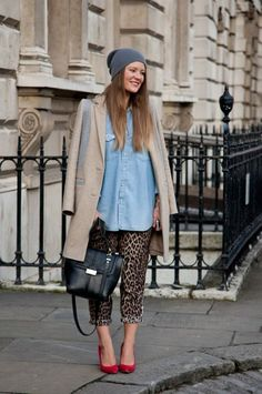 Finally, high fashion I can get on board with: oversize denim shirt, leopard pajama pants, and a great handbag. (London Fashion Week Fall 2013, Vanity Fair)