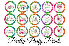 Instant Download Hairbows Rock 1 inch Round by PrettyPartyPrints