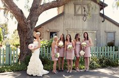 bridesmaids pink dresses http://greenweddingshoes.com/parisian-countryside-wedding-in-cali-logan-john/