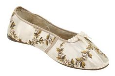 pumps crafted from cleverly tailored brocade  dates from 1810-1820.  from the Clarks Shoe Museum in Street