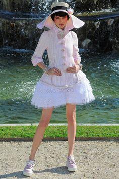 Chanel 13C Runway Pink Tweed Ruffle Peplum