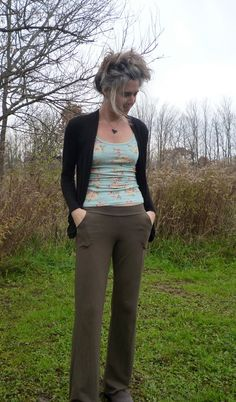 Organic Clothing - Cotton Boot Cut Yoga Pants with Pockets - Color Choice - Handmade and Custom Fit