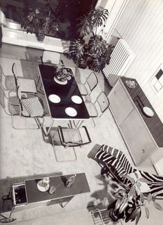 Great vintage shot: note Breuer Cesca Table and Cesca chairs -- also flamboyant zebra LC4.