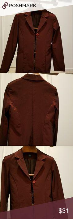 Jacket metallic burgundy made in France Gorgeous,  very comfortable like new axara  Paris Jackets & Coats