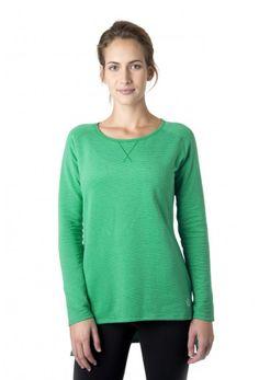 Rise Sweatshirt - Women's striped fleece sweatshirt in rain forest green.