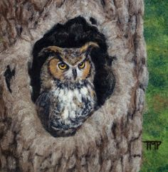 Felted Artwork-Original felted landscapes by Tracey McCracken Palmer. Wet felting and needle felting techniques are used to create beautiful works of art. Felt Owls, Felt Birds, Felt Animals, Needle Felted Owl, Felted Wool, Owl Quilts, Felt Pictures, Art Deco Posters, Wool Art