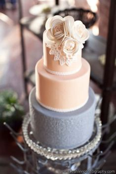 Peach and grey - pretty color combo - add branches or pinecones to make it more fallish looking (and it doesn't have to be 3 tiers... just looking at ideas here)