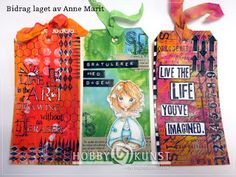 HOBBYKUNST: Kreativ inspirasjon med DISTRESS PAINTS Distressed Painting, Tags, Books, Life, Libros, Book, Book Illustrations, Mailing Labels, Libri