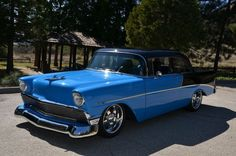 56 Chevy| Identical except rims & black top; Mine was white & 60's Slot type mags High-Performance 283 & 4-spd.