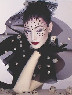 visionaire #30: the game, by serge lutens for the january 2000 issue. Dice, gloves, red lipstick, dots, stripes, tulle