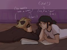 """australet789: """"Marichat May Day 3: Homework Adrien knows what is to be overworked and doesnt like how Marinette does that to herself. So if he needs to lay over every single book and blame it to his..."""