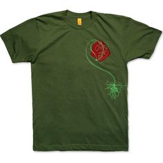 I ♥ NATURE men's olive t-shirt - I Love Nature features a plant with a heart-shaped leaf printed over a swatch of fabric that's been uniquely stitched to each garment. Great...