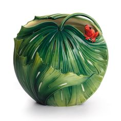 Rain Forest Little Dwellers Frog Porcelain Vase from the Franz Collection