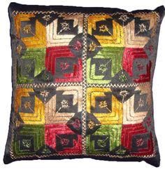 Set of 5 Punjabi Phulkari Cushion Covers in vibrant colours with Black Base Price :  1999 INR