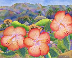 Hibiscus Hills Watercolor - Hibiscus hills is from a watercolor I did while vacationing in Sayulita, mexico last April. The hibiscus were growing by our poolside and I painted the hills from our high rooftop palapa which overlooked the jungled hills in the distance- it was so fun to do this painting.