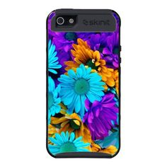 Purple, Gold and Turquoise Daisies iPhone 5 case