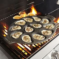 So you enjoy making grilled oysters. With the Sur La Table Cast Iron Oyster Pan, you can cook delicious oysters on the grill or stovetop. Grilling Recipes, Fish Recipes, Seafood Recipes, Cooking Recipes, Fish Dishes, Seafood Dishes, Fish And Seafood, Seafood Buffet, Gastronomia