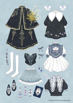 Vintage Fashion Sketches, Fashion Design Drawings, Lolita Fashion, Covet Fashion, Fashion Art, Clothing Sketches, Fashion Sketchbook, Drawing Clothes, Anime Outfits