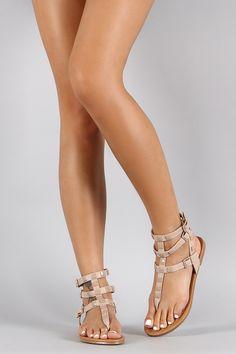 Shoe Republic LA Studded Gladiator Flat Sandal