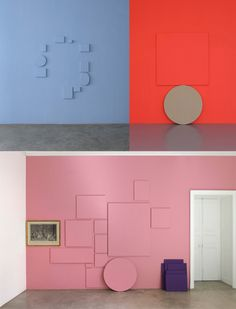 Canvases painted the same colour as the wall on which they hang is a good look. These ones are by Claude Retault.