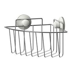 IKEA - IMMELN, Corner shower basket, The suction cup grips smooth surfaces.Made of zink-plated steel, which is durable and rust resistant.