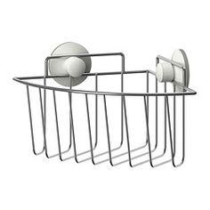 IKEA - IMMELN, Douchemandje voor hoek, Met een zuignap die op vlakke oppervlakken kan worden bevestigd.Gemaakt van verzinkt staal; slijtvast en roestbestendig.