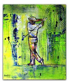 BURGSTALLER ORIGINALGolf Gemälde Bild Golfer Golfspieler Malerei Turnierpreis 74