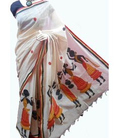 Off-White Handpainted Kerala Cotton Saree