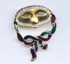 Vtg Mask Ribbon Crystal Rhinestone Enamel Gold Tone Brooch Pin #NotSigned