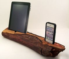 iPad and iPhone dock, made from reclaimed wood! How cool