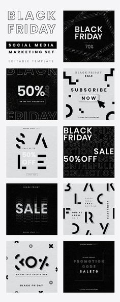 Black Friday editable vector sale promotion ad set | free image by rawpixel.com / wan Cyber Monday Ads, Advertisement Template, Black Week, Motivational Quotes Wallpaper, Event Website, Black Friday Ads, Brand Campaign, Promotional Design, Sale Banner