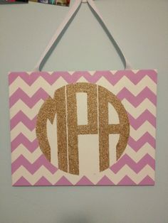 16x20 Handpainted Chevron Glitter Monogram by AlainaCarolineCrafts, $50.00. Perfect for dorms!