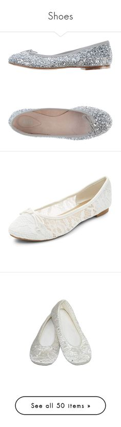 """""""Shoes"""" by sidneykmail-1 ❤ liked on Polyvore featuring shoes, flats, silver, leather flat shoes, ballet flats, bloch flats, ballet shoes, ballet pumps, white and white flats"""