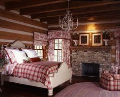 Nothing says French Country like toile and an antiqued paint finish, while the large red plaid adds some rustic flavor.