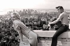 Marilyn Monroe and Elvis Presley in New York City, NY - 1950s
