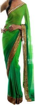 Dertaste Plain Bollywood Georgette Sari