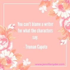 """Happy Words of Wisdom Wednesday! This week's quote is from #TrumanCapote When I first started writing, I'll be honest, when other authors talked about """"I wanted one ending, but my characters wanted another"""", I thought they were a little cuckoo. Well, these days, I'm as cuckoo as they come. When characters live in your mind for months on end, and every spare moment you have you obsess over them and their story, they become apart of you, you walk in their shoes. By the time you're heading for…"""