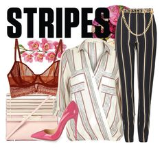 """""""Stripes"""" by estivamenti ❤ liked on Polyvore featuring Laura Cole, Eddie Borgo, Intimately Free People, River Island, Topshop, Moschino and Christian Louboutin"""