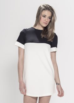 """Mono Colour Block Dress. Material: 95% Polyester 5% Elastane. Model wears UK S and her height is 5ft 7"""" - www.froww.com"""